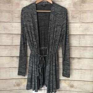 Simply Vera Gray Long Open Cardigan Tie String